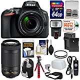 Nikon D5600 Wi-Fi Digital SLR Camera with 18-140mm VR & 70-300mm AF-P VR Lens + 64GB Card + Backpack + Flash + Battery/Charger + Tripod + Filter Kit
