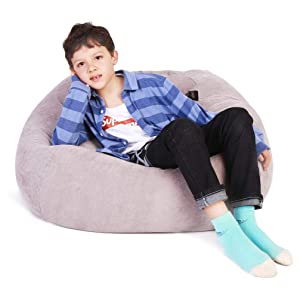 Lukeight Stuffed Animal Storage Bean Bag Chair, Bean Bag Cover for Organizing Kid's Room - Fits a Lot of Stuffed Animals, X-Large/Gray