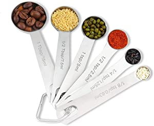 Yeawel 6PCS Measuring Spoons Set, Stainless Steel Metal Kitchen Measuring Tools Set, for Cooking Baking, for Dry or Liquid, Fits in Spice Jar
