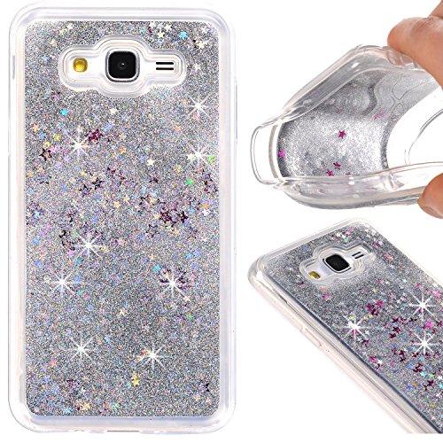 Galaxy J7 Case, KMISS Twinkle Glitter Star Liquid Flowing Glitter Floating Dynamic Quicksand Luxury Bling Glitter Soft TPU Bumper Case For Samsung Galaxy J7 J700 (2015) (Silver)