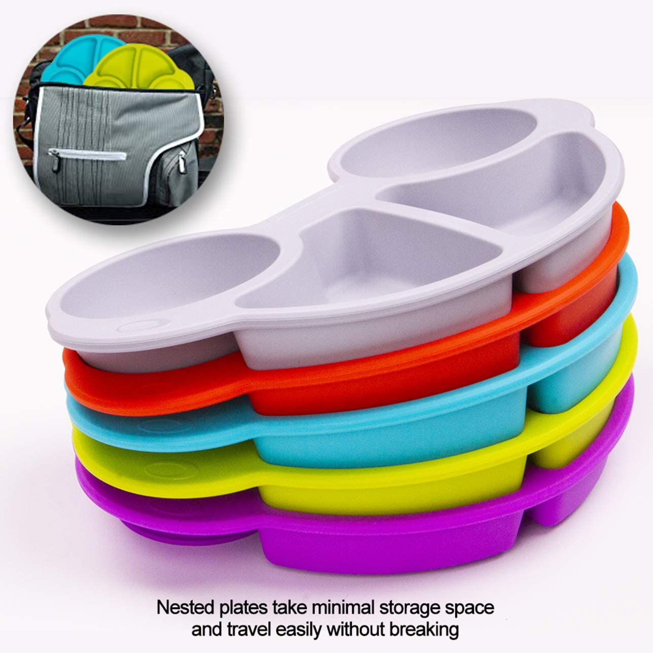 Silicone Divided Toddler Plates Portable Non Slip Suction Plates for Children Babies and Kids BPA Free FDA Approved Baby Dinner Plate