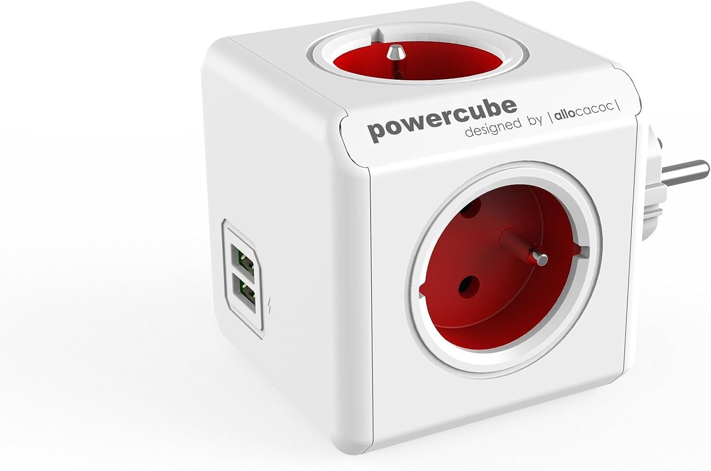 Powercube Original Duo USB FR Red 2 Way USB with 4 Way Socket 230V FR White Red