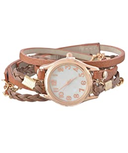 Loweryeah PU Leather Woven Chain Strap Rose Gold Dial Bracelet Watch 56.5cm (Brown)
