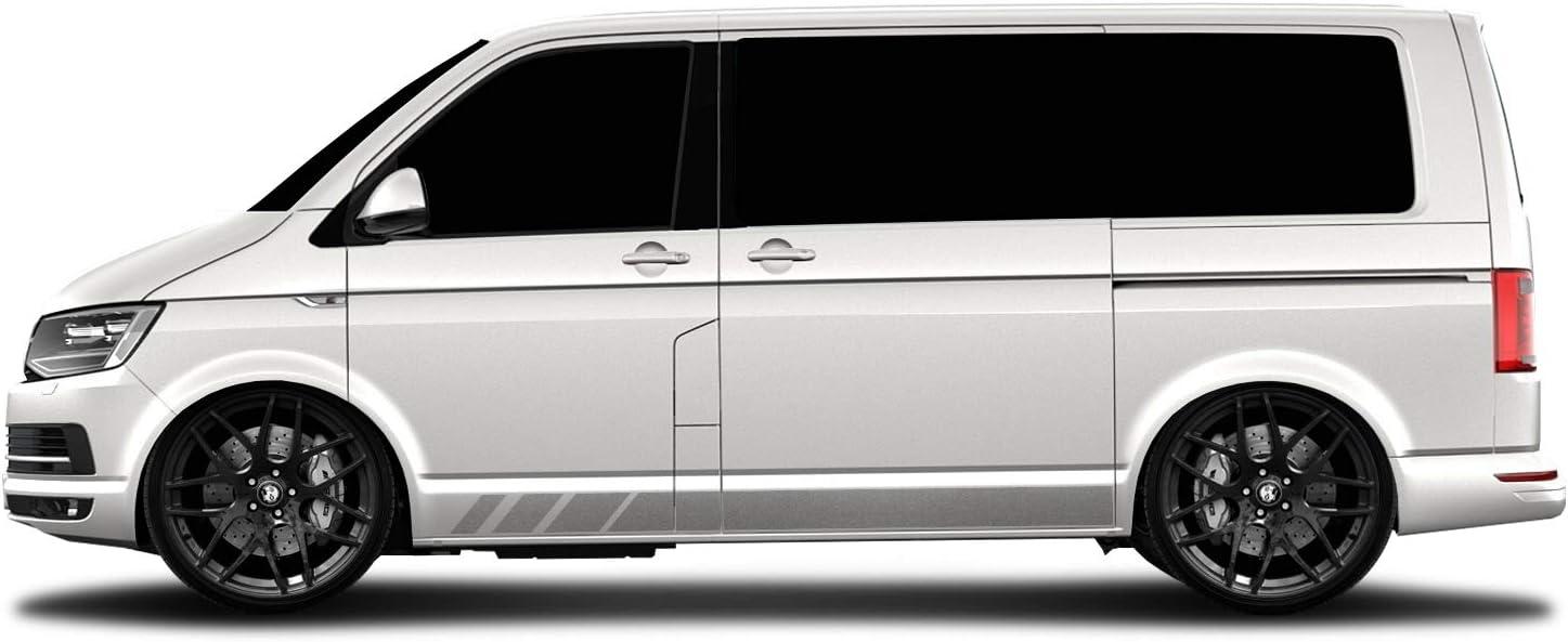 WRAP-SKIN Seitenstreifen Set passend f/ür VW T4 T5 T6 Seitenaufkleber Aufkleber WS-03-08-10003 070M Schwarz Matt