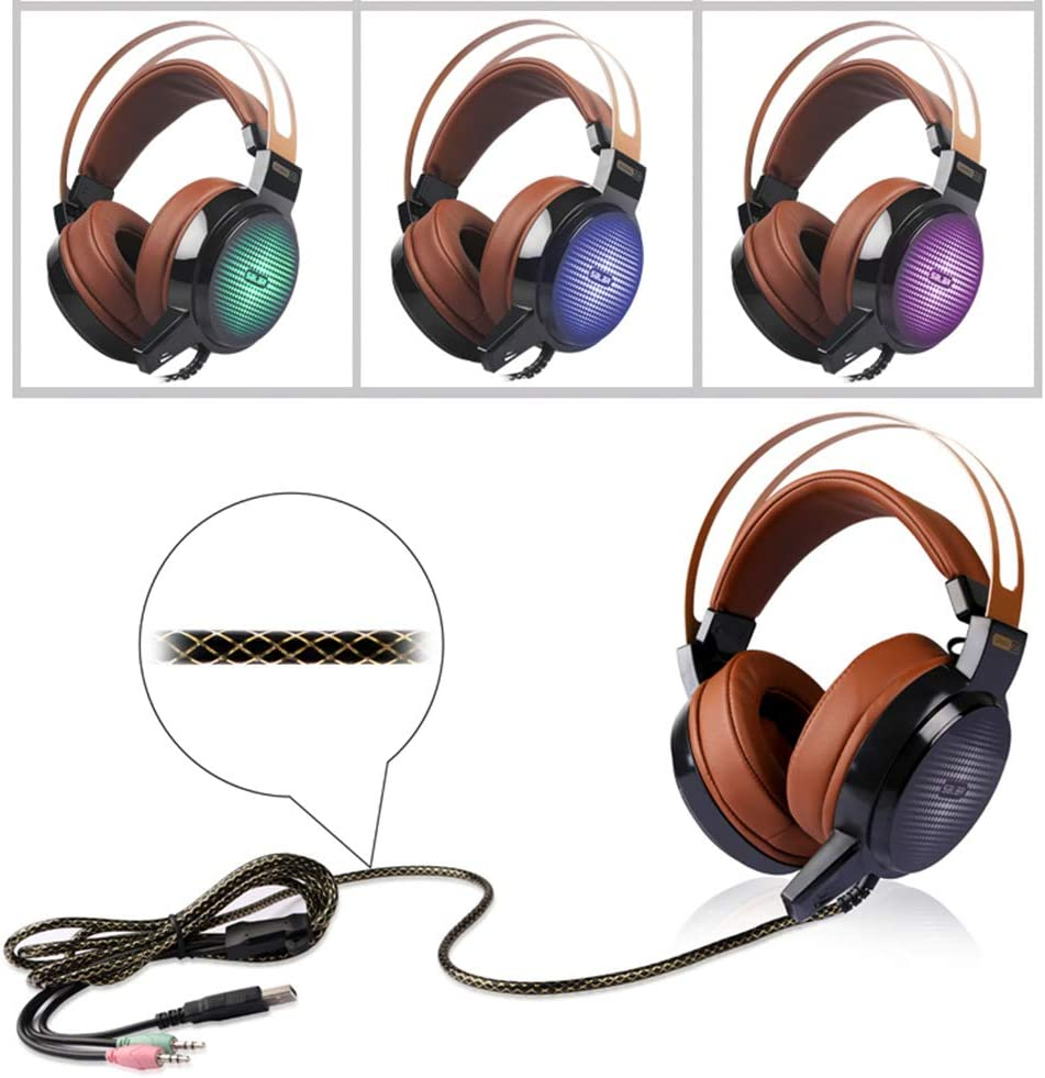 Delivers Clear Sound and Deep Bass QKa Gaming Headset with 40mm Super Big Driver Unit Game Headphone with Microphone LED Light for Computer PC Gamer