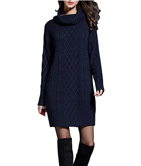 09b638f18f5 NUTEXROL Women's Long Sleeve Turtleneck Knit Thick Cable Pullover Sweater  Dress