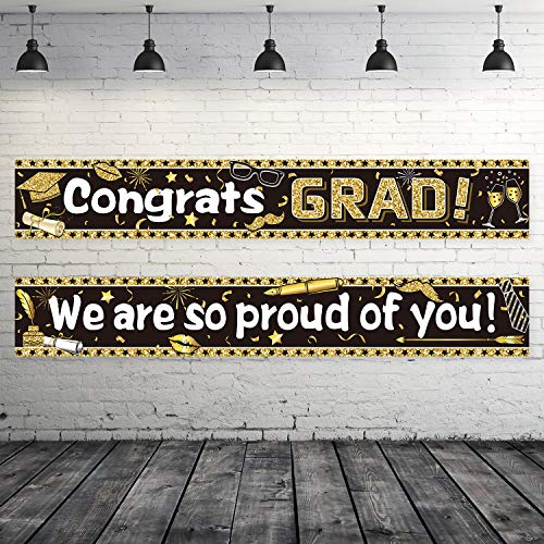 (Graduation Party Decorations Graduation Party Banner Supplies 2019 - Congrats Grad Graduation Backdrop Photo Booth Wall Party Decor with 40 Glue Points (Congrats Grad, We are So Proud of You))