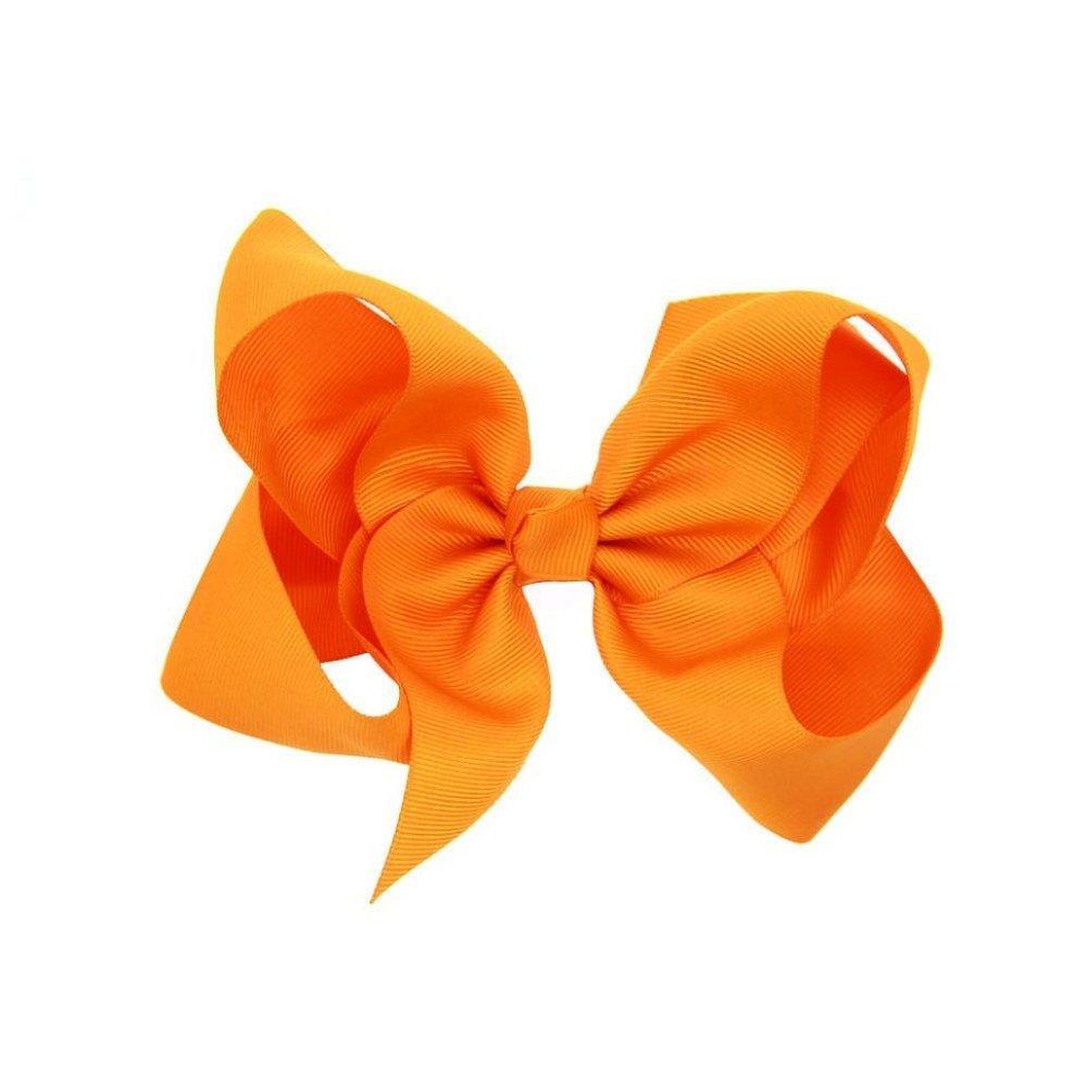 Fullkang Baby Girls Big Bowknot Hairpin Headdress (Orange)