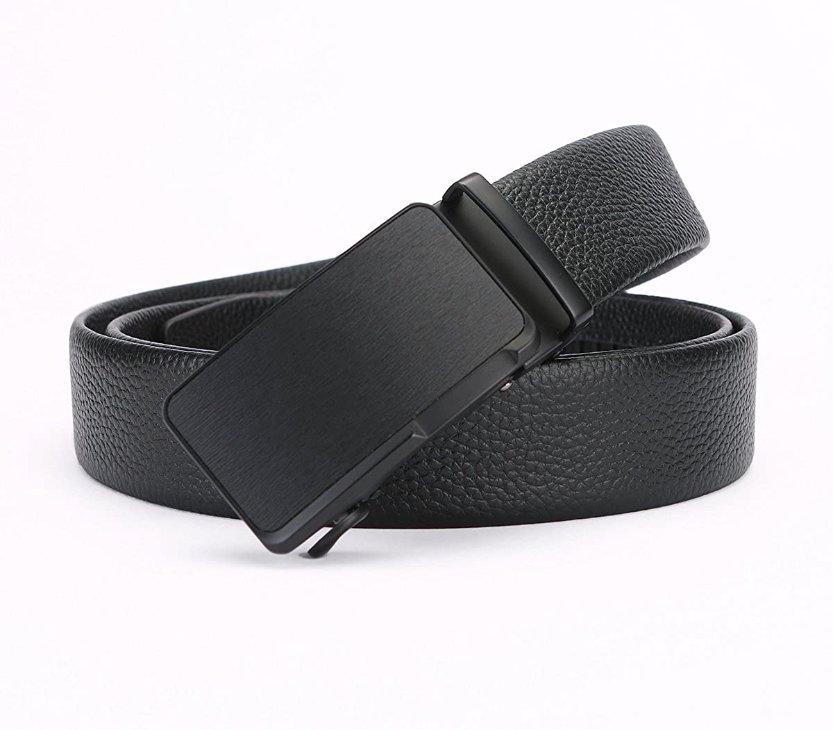 Mens genuine leather automatic buckle belt for dressing large black