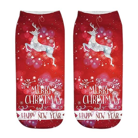 Kinlene Calcetines ocasionales impresos moda divertida unisex de la Navidad 3D Calcetines escotados bajos del tobillo: Amazon.es: Ropa y accesorios