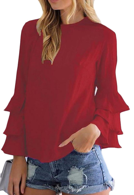 Cruiize Womens Basic Chiffon Crewneck Flare Sleeve Top Blouse T-Shirt