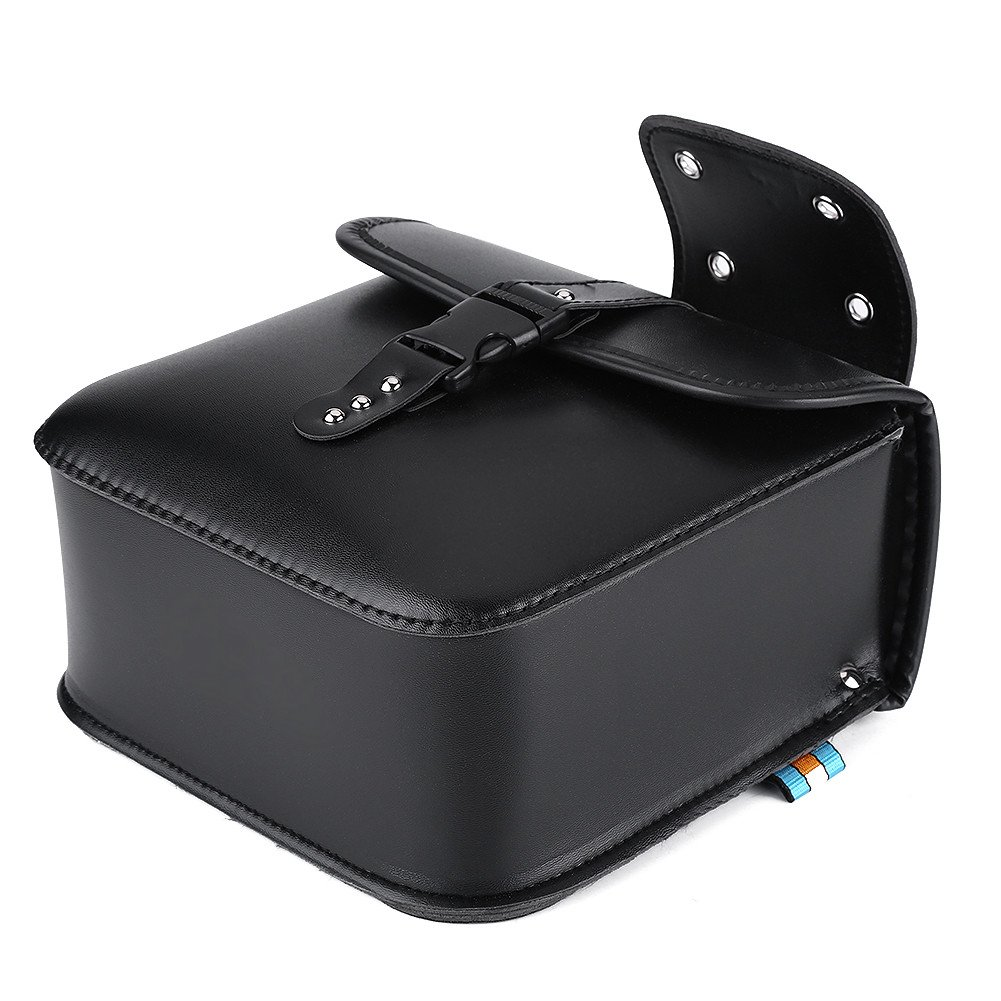 2Pcs Waterproof Motorcycle PU Leather Saddle Bags Storage Tool Pouch Left /& Right black