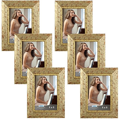 Icona Bay 4x6 Picture Frame (6 Pack, Gold), Gold Photo Frame 4 x 6, Wall Mount or Table Top, Set of 6 Regency Collection]()