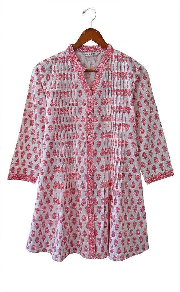 Pink Motif Print Ayurvastram KRITI Hand Block Printed Cotton V Neck Tunic, Kurti, Top, Blouse