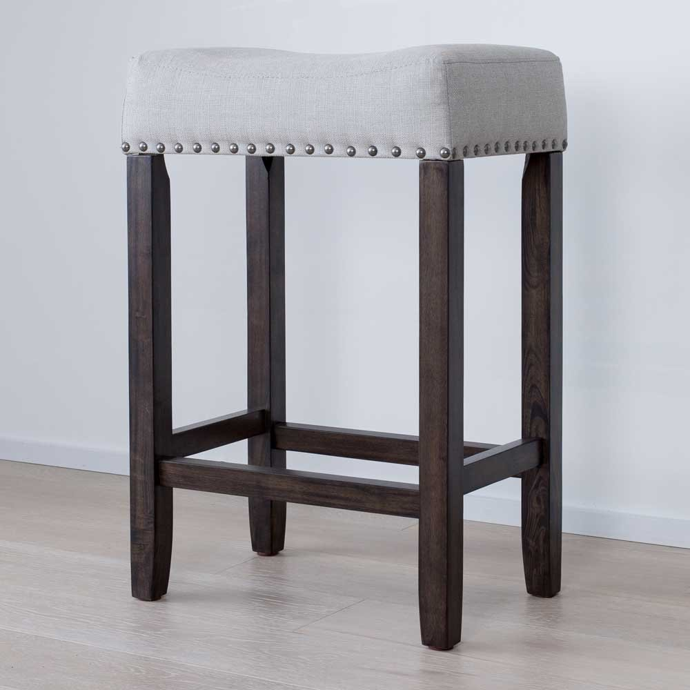 Nathan James 21302 Hylie Nailhead Wood Pub-Height Kitchen Counter Bar  Stool, 24\