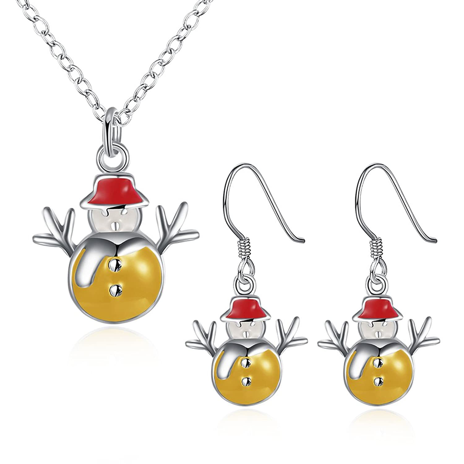 Christmas Gifts Silver Plated Snowman Dangle Earrings Necklace Women Girls Jewelry Sets