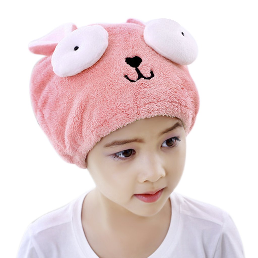 Bath Towels Hair Towel Cute Kids Girls Fast Drying Hair Wrap Hat Drying Bath Shower Head Towel Bath Spa Swimming Turban Hat Dry Cap Quick Dry Absorbent Hair Towel FakeFace