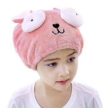 Toallas de baño secador de toallas de secado rápido para niñas Cute Envoltura de cabello Hat ...