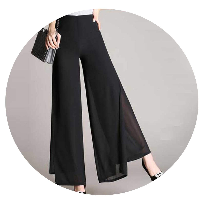 Womens Loose Thin Chiffon Pants Female Wide Leg Pants High Waist Casual Pants