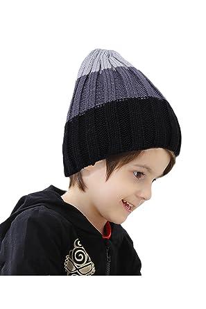 Winter Gestreifte Kinder Stricken Häkeln Beanie Mütze Hut