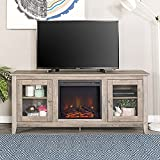 New 58 Inch Wide Television Stand with Fireplace in Grey Wash Finish