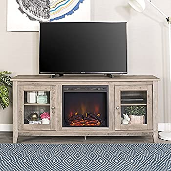 Amazon we furniture 58 wood highboy fireplace media tv stand new 58 inch wide television stand with fireplace in grey wash finish solutioingenieria Gallery