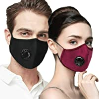 Washable Reusable N95 Anti Air Pollution Face Mask With Respirator &2 Filters | Unisex Mouth Mask Adjustable Anti Dust Face Mouth Mask,Cotton Face Mask for Cycling Camping Travel Daily Life(Navy Blue)