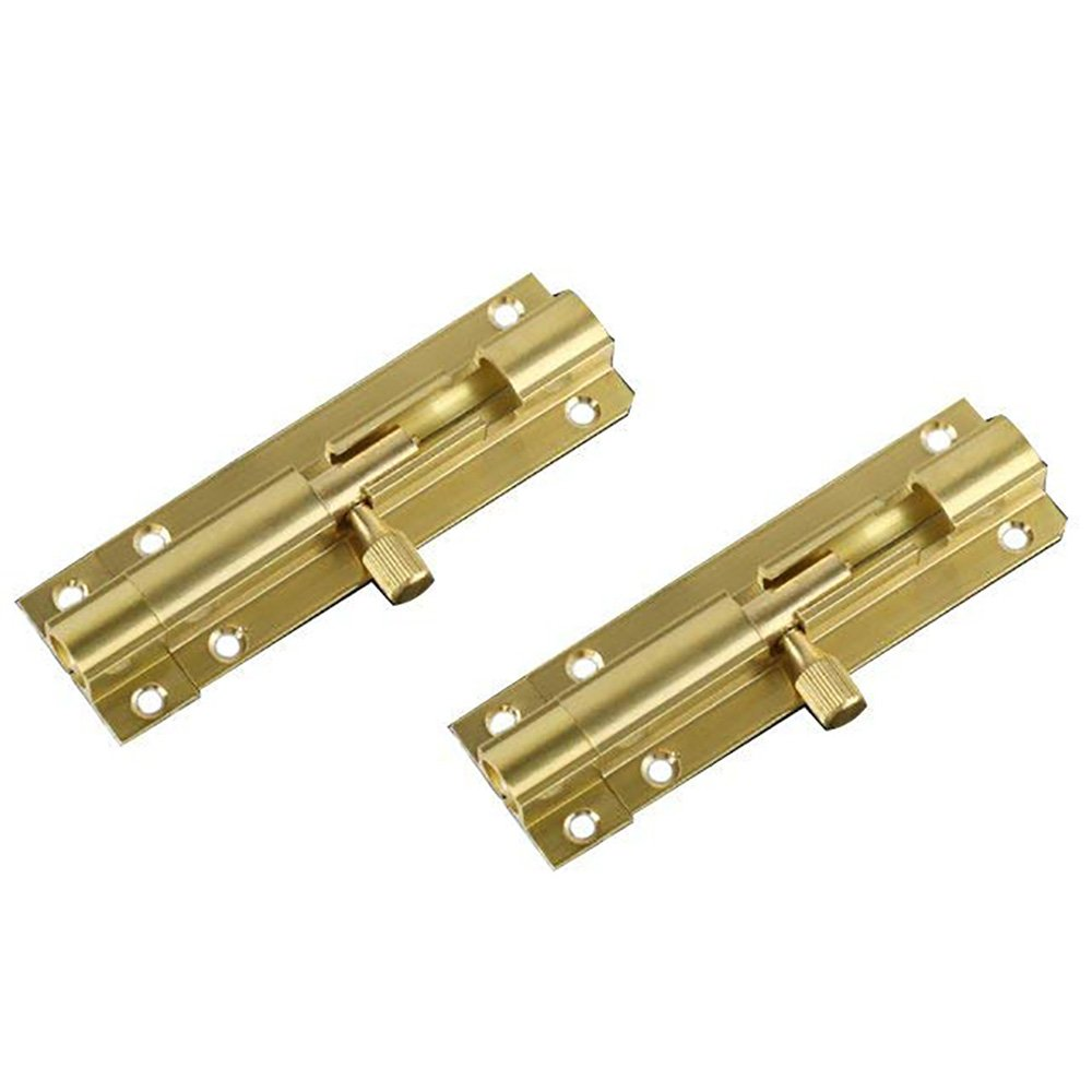 BTMB 1.5 inch Brass Safety Cabinet Door Lock Latch Slide Barrel Bolt,Pack of 2