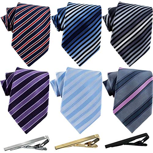 Jeatonge Lot 6 Pcs Mens Ties and 3 Free Tie Clips, Men's Classic Tie Necktie Woven Jacquard Neck Ties Gift box packing (Style 19)