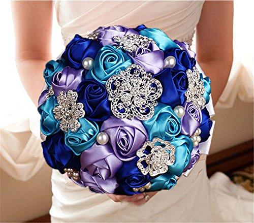 Designer Flowers Brooch - Designer's Handmade Romantic Sky Blue&Royal-Blue&Lilac Silk Rose Wedding Flowers Bouquet Bridal Holding Bouquets Crystal Brooch Wedding Bouquet
