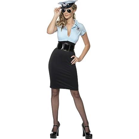 Traje de policía uniforme agente vestuario disfraz: Amazon ...