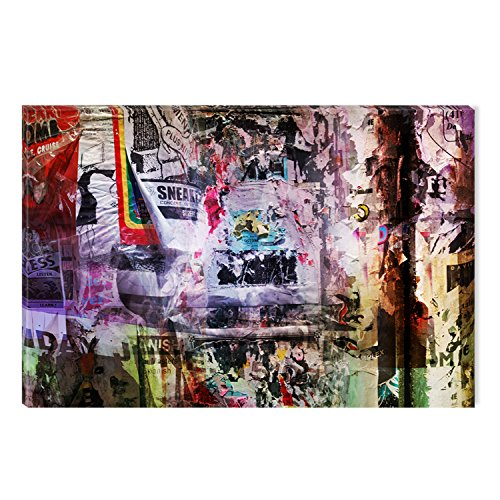 Startonight Canvas Wall Art Collage News Colorful Abstract, Dual View Surprise Artwork Modern Framed Ready to Hang Wall Art 100% Original Art Painting 23.62 X 35.43 inch by Startonight
