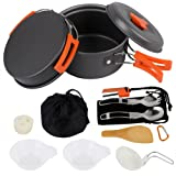 AnimaMiracle Camping Cookware Set Hiking Camping Backpacking Gear & Camping Outdoor Survival kits Cooking Equipment pots | Mini Non-stick pan , Lightweight ,Best 14/15 Piece Camping Mess kit