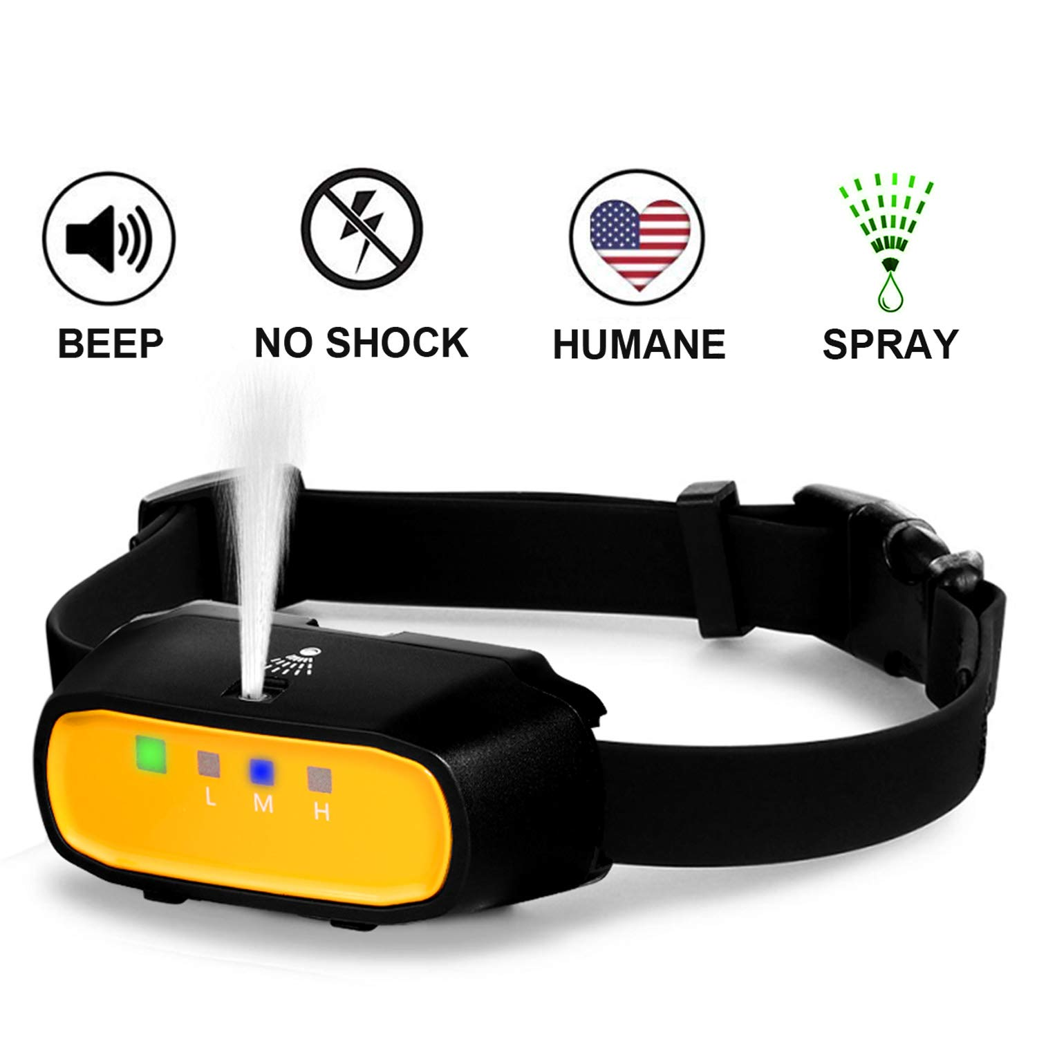 WWVVPET Spray Dog Training Collar,2 Modes Spray Dog Bark Collar (Not Included Citronella Spray),500 ft Range No Electric Shock Harmless,Rechargeable Adjustable Waterproof (NO Remote Control) by WWVVPET