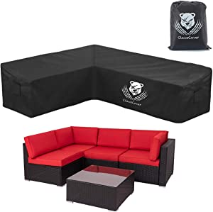 ClawsCover L-Shaped Sectional Sofa Covers Waterproof Outdoor Tear Proof Patio Couch Cover Garden Furniture Protector,6 Windproof Straps,2 Air Vents,Left Facing
