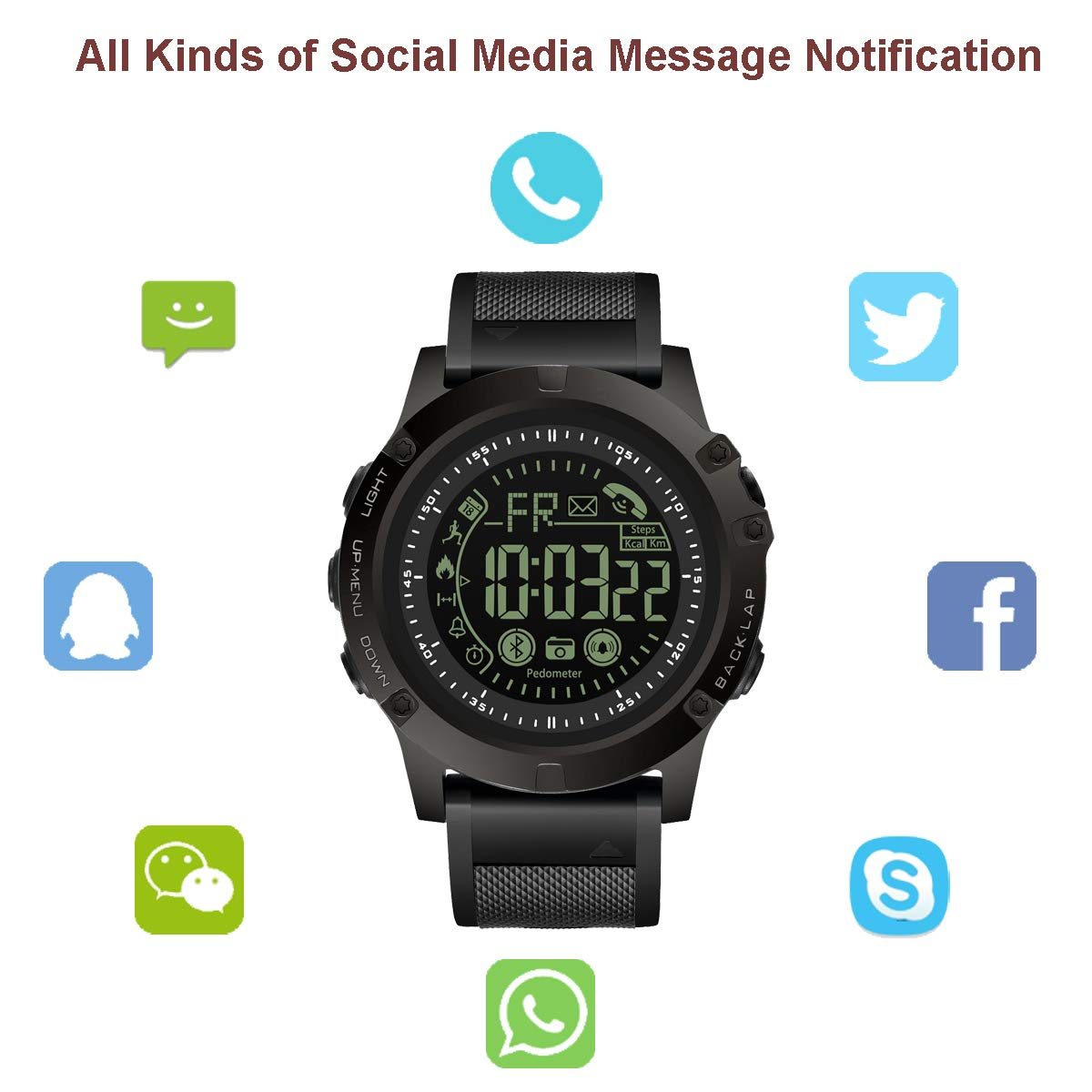 Amazon.com: T0003 Electronic Fitness Tracker Digital Sports Bluetooth Smart Watch Waterproof Pedometer Remote Camera Incoming Call or Message Alert Reminder ...