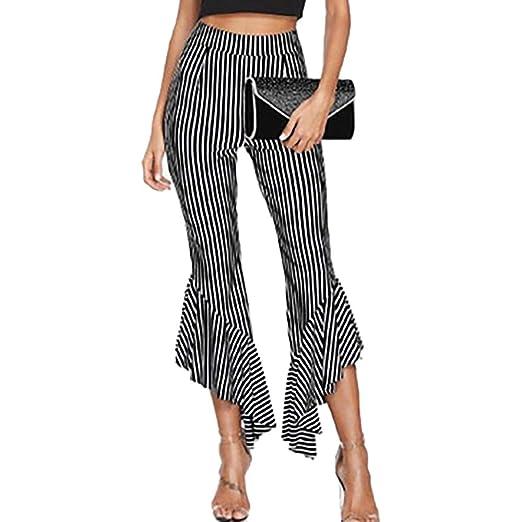 c987b83f2f9c2 JJLIKER Stripe Irregular Flare Wide Leg Pants Fashion High Waist Stretch  Pull-On Suit 3