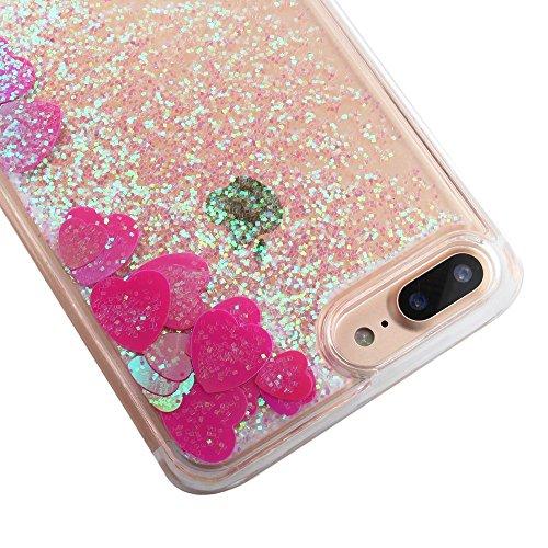 Dynamic Liquid Big Love Heart Sequins PC Phone Tasche Hüllen Schutzhülle Case für iPhone 7 Plus 5.5 inch - Pink