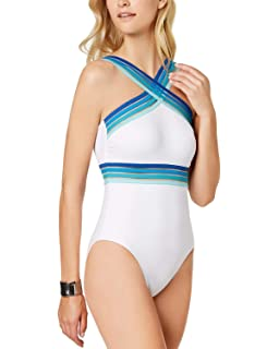 5780b70b9a8 Back. Kenneth Cole Stompin' in Stilettos One-Piece Illusion-Striped Swimsuit  (Medium)