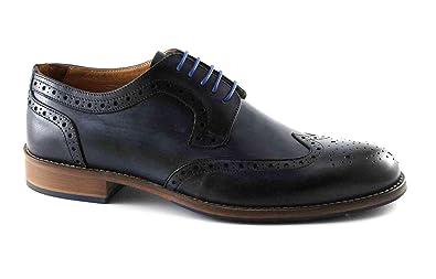 Melluso U90112 Blaue Schuhe Mann Derby Stilvollen englischen
