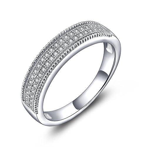 YL Anillo de mujer Anillo de compromiso de plata esterlina con circonita cúbica Anillo de compromiso
