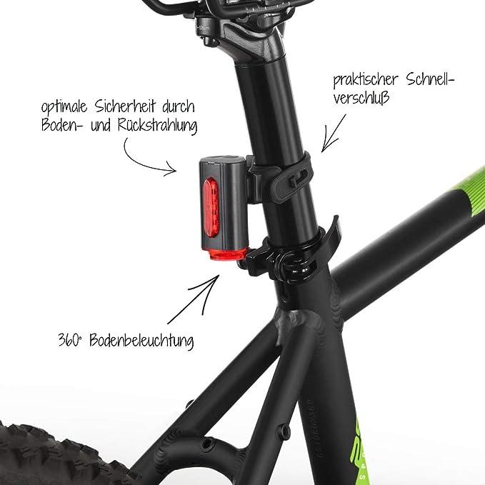 Bike Spinne hinten LED-R/ücklicht nachladbare wasserdichte Fahrrad-R/ückleuchten Sicherheits LED Mountainbike R/ückleuchten ROT