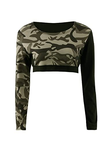 70fa82f4c113f5 Jumojufol Women s Elegant Round Neck Camouflage Print Crop Top Blouse T  Shirt at Amazon Women s Clothing store