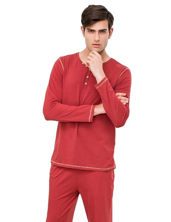 QianXiu Temporada de Primavera y Verano Conjunto de Pijamas de Hombre Manga Corta Pantalones Ropa de Dormir Ropa de Dormir de algodón Ocio Pijamas Ropa ...