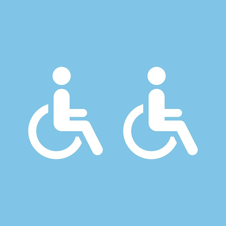 Autodomy Pegatinas Discapacitado Minusválido Pack 2 Unidades para Coche Furgoneta Camión (Blanco)
