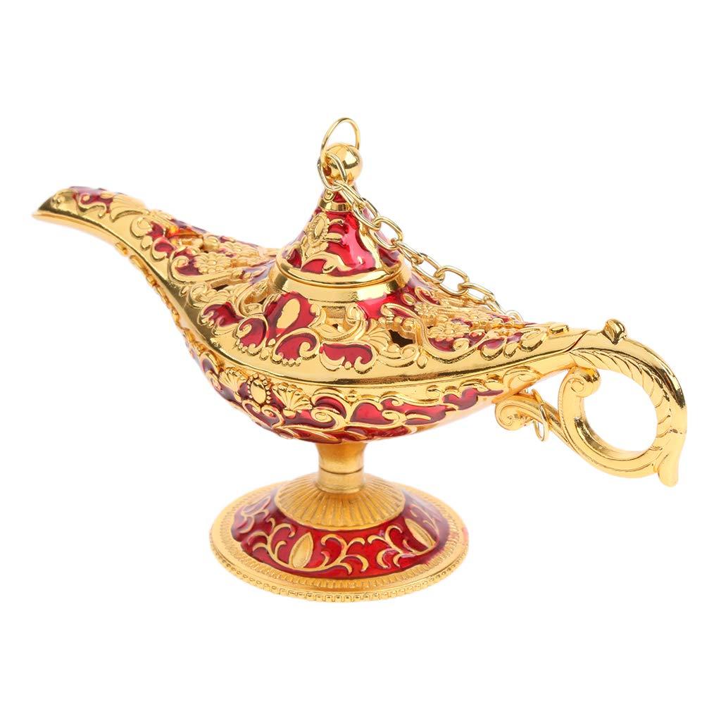 Homyl Accendino Da Tavolo Lucido Vintage Aladdin Genie Decorazione Artigianato Regalo Gift - Oro-Bianco