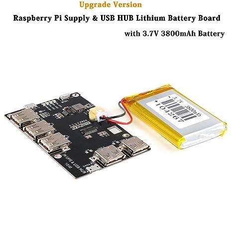 MakerFocus Raspberry Pi Supply & USB HUB 5 Port USB 2 0 Hub Power Supply  Module with 3800mAh Lithium Battery for Raspberry Pi 3 Pi 2 Model B Zero or