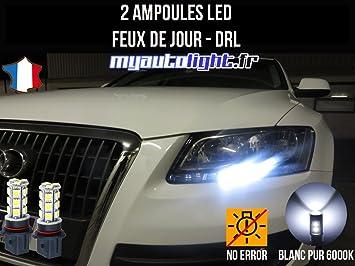 Daytime Running Lights Xenon White Led Bulbs For Audi A4 B8 Facelift