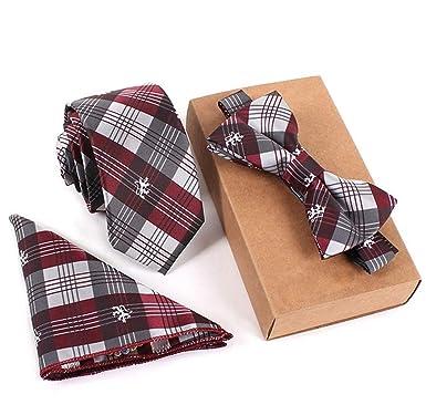 QHDZ Negocio Hombres corbatas Conjunto de corbata de tartán de ...