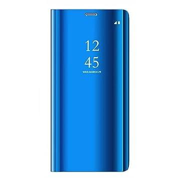 Tianyan Funda Xiaomi Mi8 Lite,Inteligente Espejo Clear View Flip Cover Carcasa Plegable Soporte Funda para Xiaomi Mi8 Lite,Azul